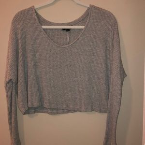 TopShop Cropped Grey Henley